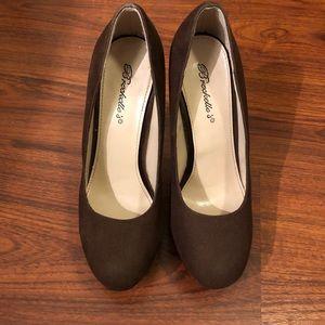 Brown suede heels